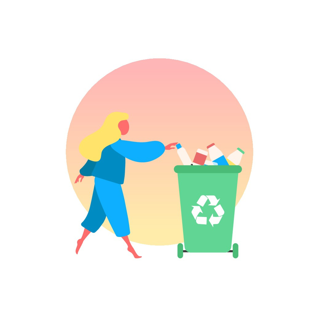 App onboarding illustrations for recycling app.