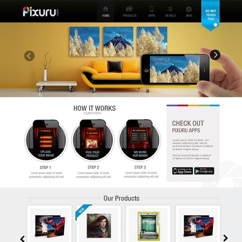 Homepage design for Pixuru.com