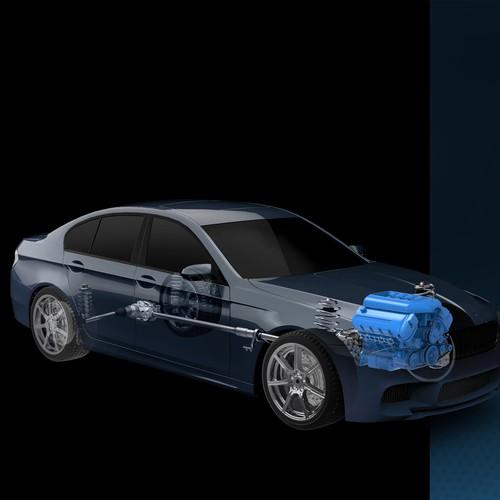 3D car cut illustration
