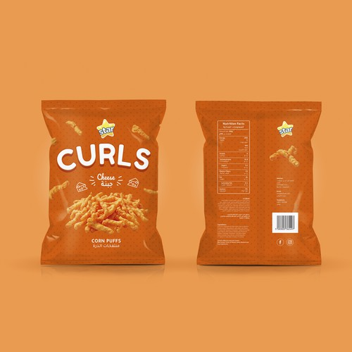 Packaging for Star Curls Corn Puffs Cheese