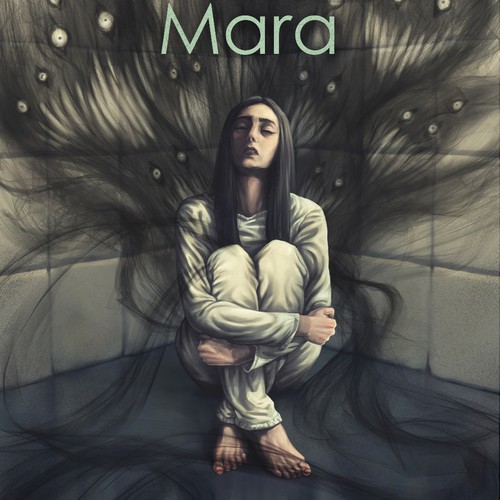 Create a cover illustration for a fantasy novel set in the world of nightmares