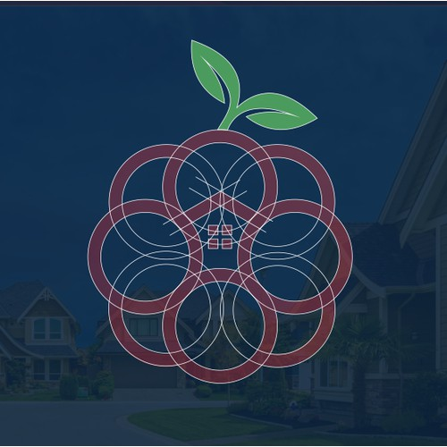 Raspberry and house logo concept for real estate company