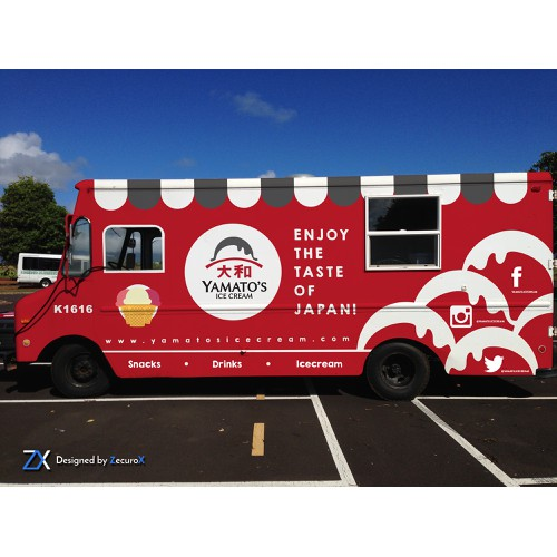 Food truck wrap for an ice cream/ramen/japanese street food truck