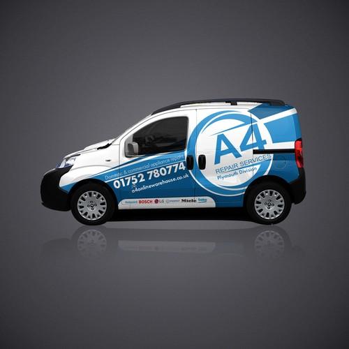 Wrap design for A4 Repair Services
