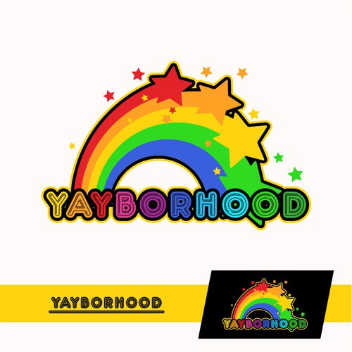 YAYBORHOOD  Describes a falling star with a colorful rainbow and font that makes a happy impression
