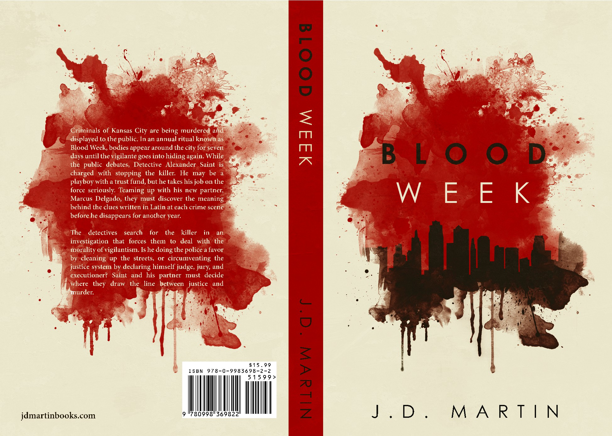 Design simple yet eye-catching book cover for crime thriller.