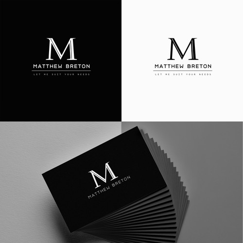 Masculine logo for a men's suit brand