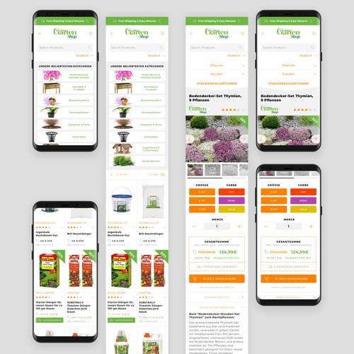 Online gardening shop website design (mobile only)