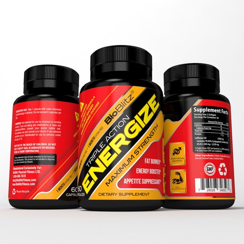 Aggressive Supplement Label for Pre-Workout Energy Supplement