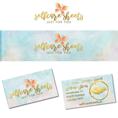 selfcare sheets logo and business card design for an amazing woman from Germany