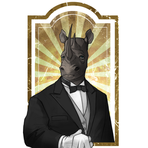 Rhino Butler Illustration