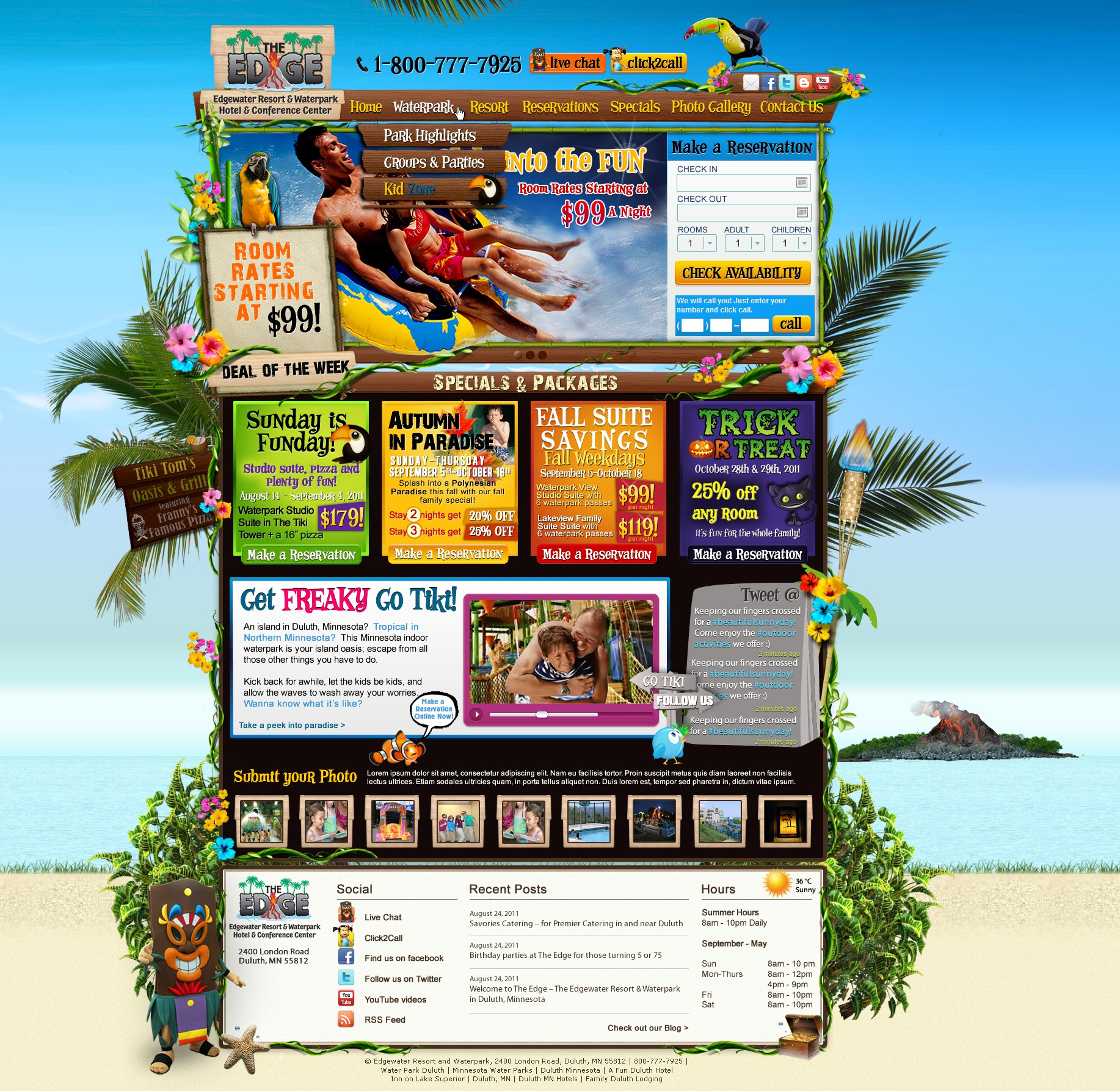 Edgewater Resort & Waterpark Hotel & Conference Center needs a new website design