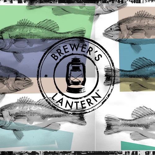 Sketched/Watercolor Fish Back of TShirt Design for Brewers Lantern