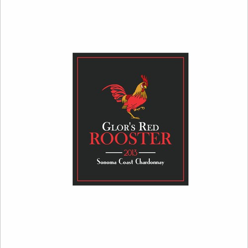Design a wine label with the theme The Red Rooster.