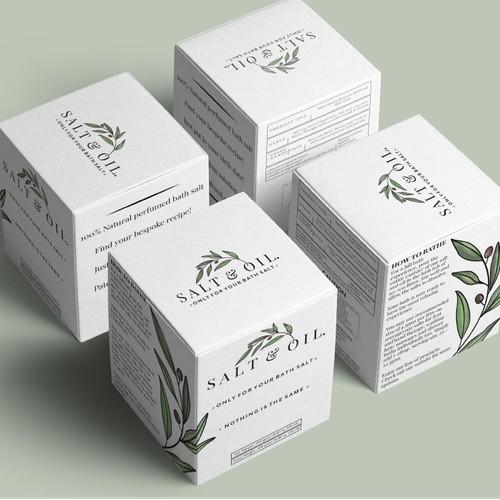 Packaging design for a bespoke bath salt company