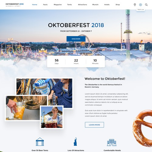 Clean Website Design For Official Oktoberfest München
