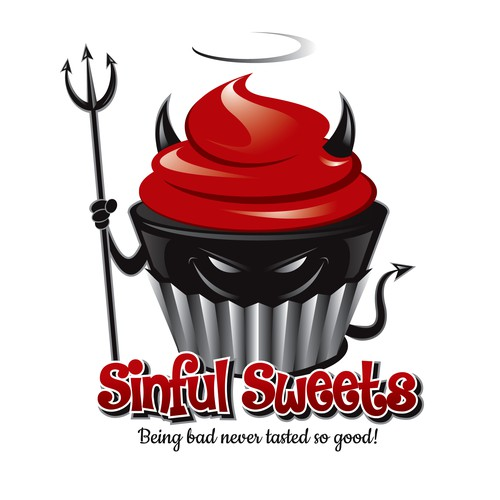 Create a devilish logo for a bakery called Sinful Sweets!