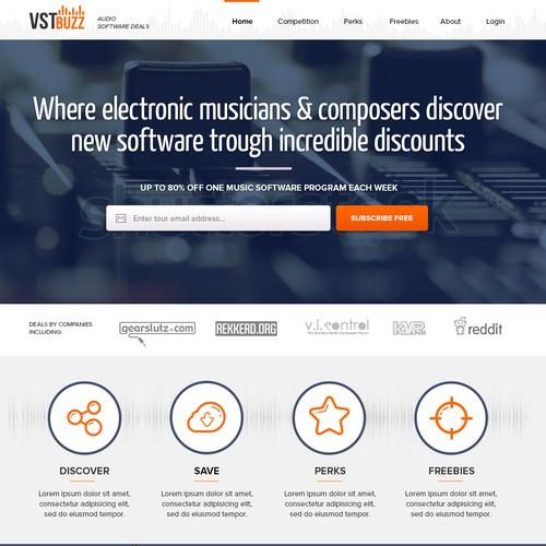 Design a sleek and beautiful music software website