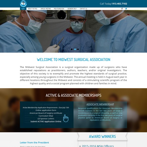 Landing Page for a Surgical Association