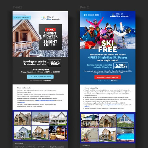 Email design for Stay at Blue Mountain