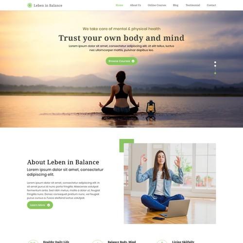 Meditation and a healthy living web design