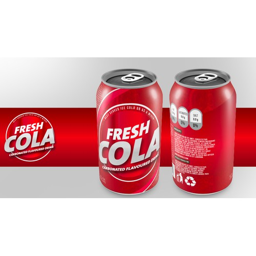 Create a generic 12 oz cola beverage can label for startup company.