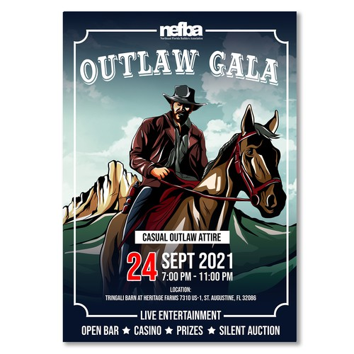 Design an Eye Catching flyer for our Outlaw Gala