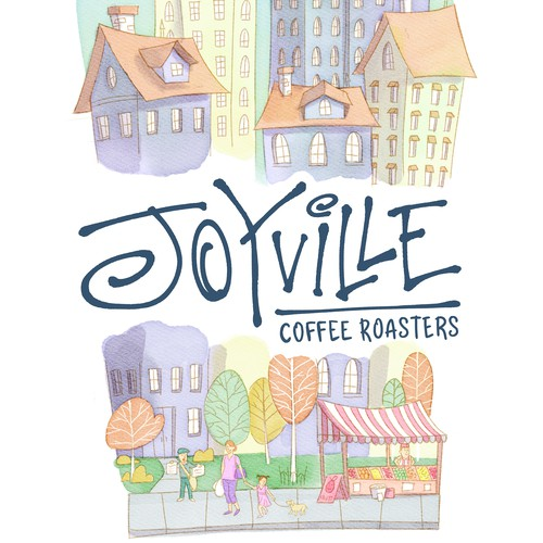 Watercolor cityscape for coffee brand