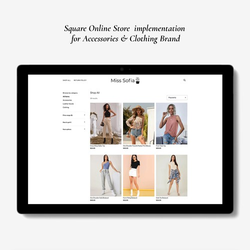Square online store for clothing and accessory brand