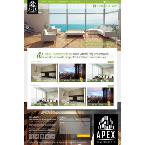 New landing page wanted for Apex Developments