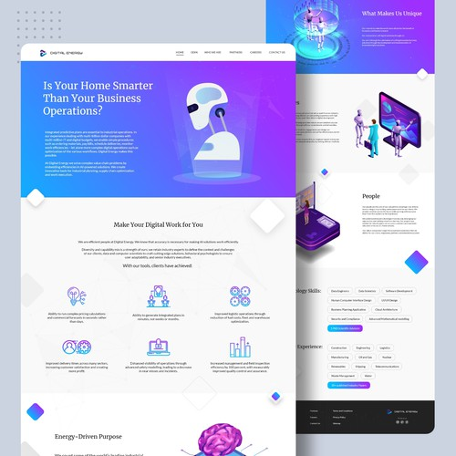 Landing page for a company providing digital solutions