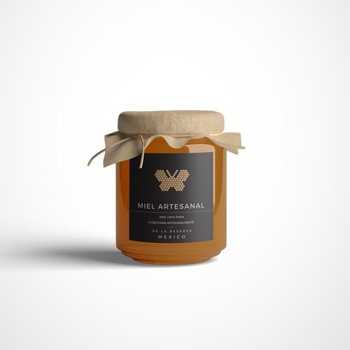 Etiqueta para miel artesanal 100% pura de la reserva de la mariposa monarca