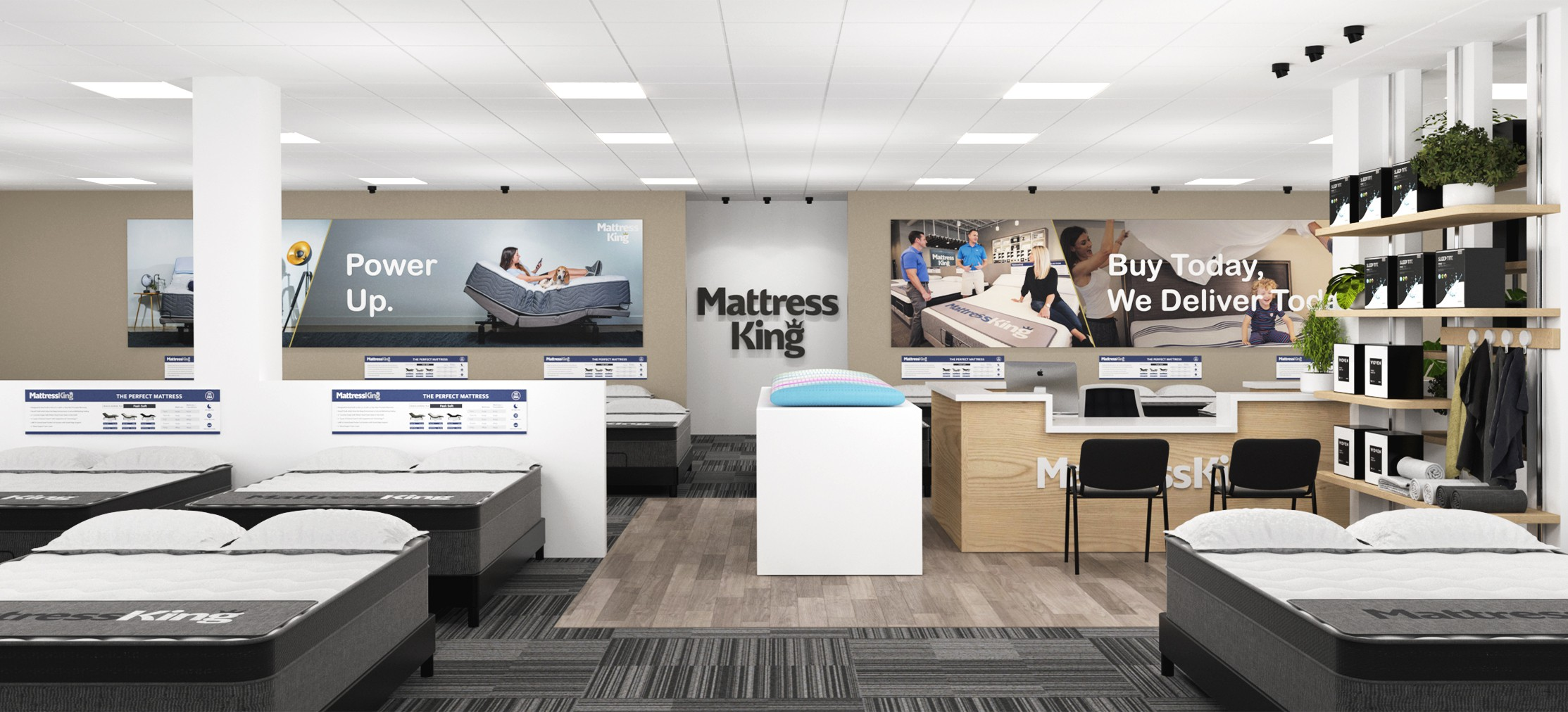 Design a new look for our Mattress King showroom
