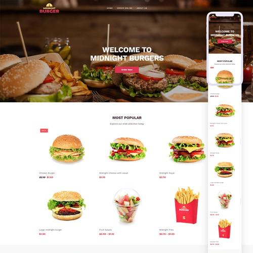 Ecommerce Burger Store website