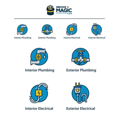 Custom Repair Icons for Service Magic USA