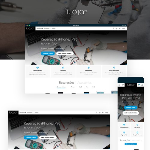 iLoja Apple products repair web design