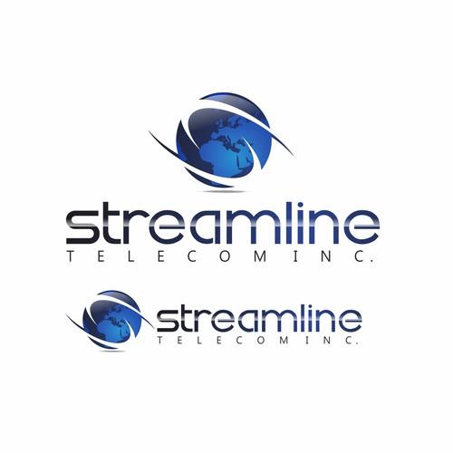 Create the next logo and business card for Streamline Telecom Inc.