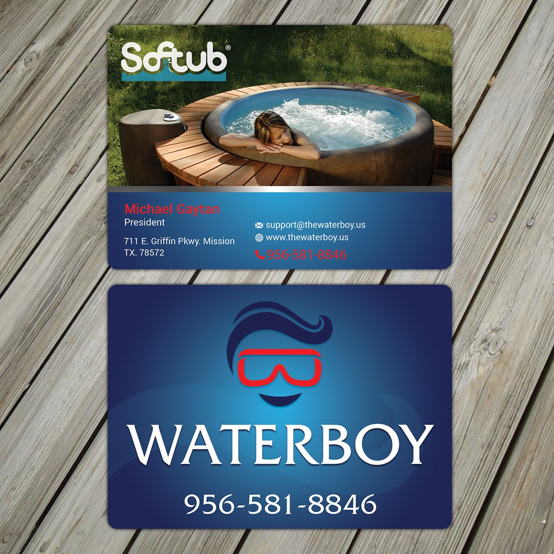 create a professional business card for Waterboy