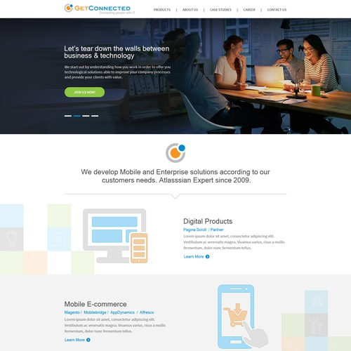 Home Page Design For GetConnected Srl