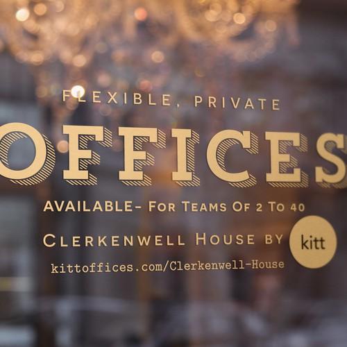 Window vinyl advertising for Clerkenwell House by Kitt.