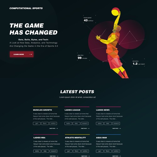 A concept for a sports Blog website
