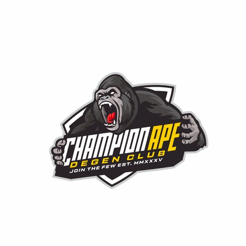 A character mascot logo for champion ape.