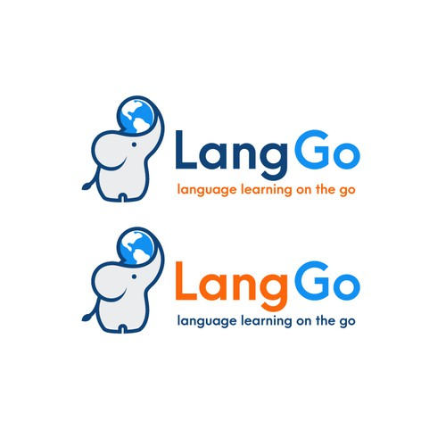 A unique logo for LangGo, a service for language learning on the go