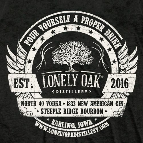 Lonely Oak Distillery T-Shirt Design