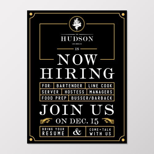 Now Hiring Poster for LA Bar + Restaurant