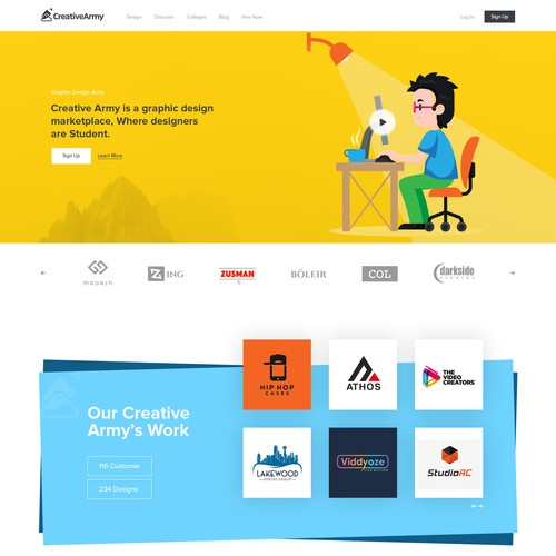 Home Page design for Creative Army