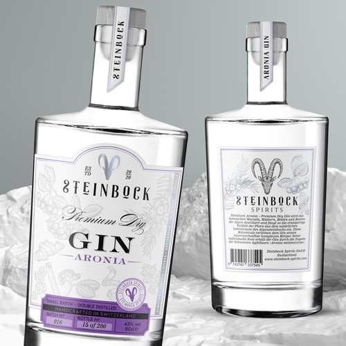 Hand drawn illustrations and label design for Steinbock Gin brand