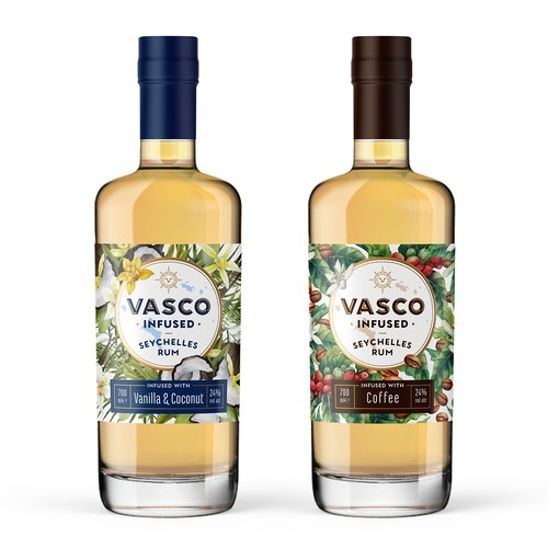 Logo and labels for Vasco Infused Rum