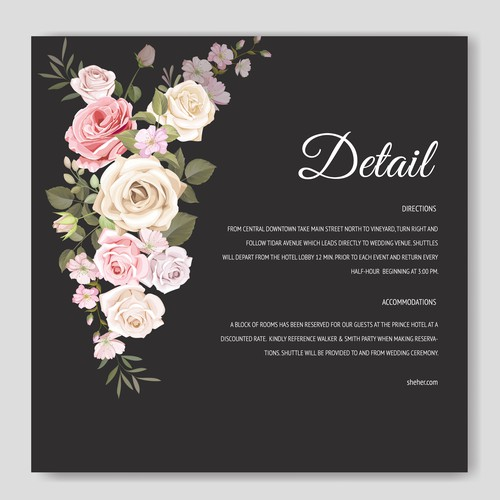 beautiful floral wedding card template
