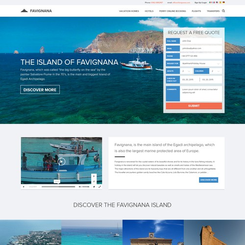Website design for Favignana